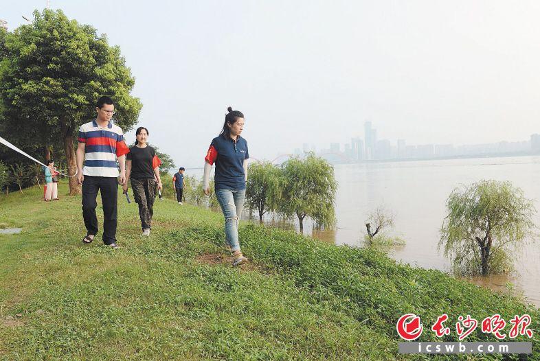 7月10日19时许,开福区芙蓉北路街道志愿者在湘江大堤巡查。长沙晚报全媒体记者 石祯专 摄